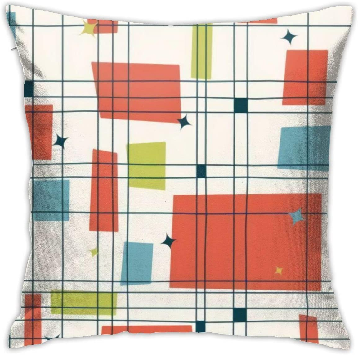 Abstract Mid Century Modern Grid Pillows Case Soft Throw Pillow Double-Sided Digital Printing Couch Pillowcase Square 45cm45cm