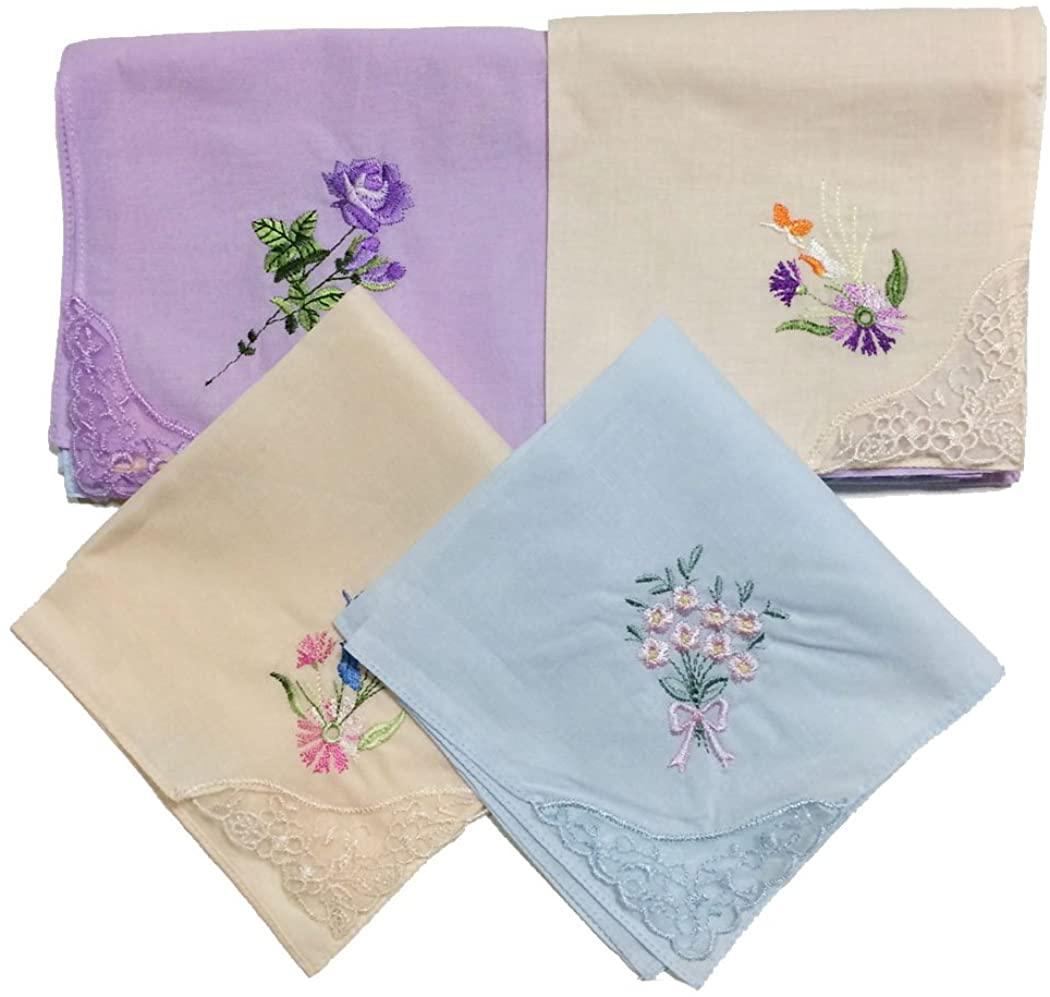 OWM Handkerchief Cotton Embroidered Ladies Lace Handkerchiefs Pack