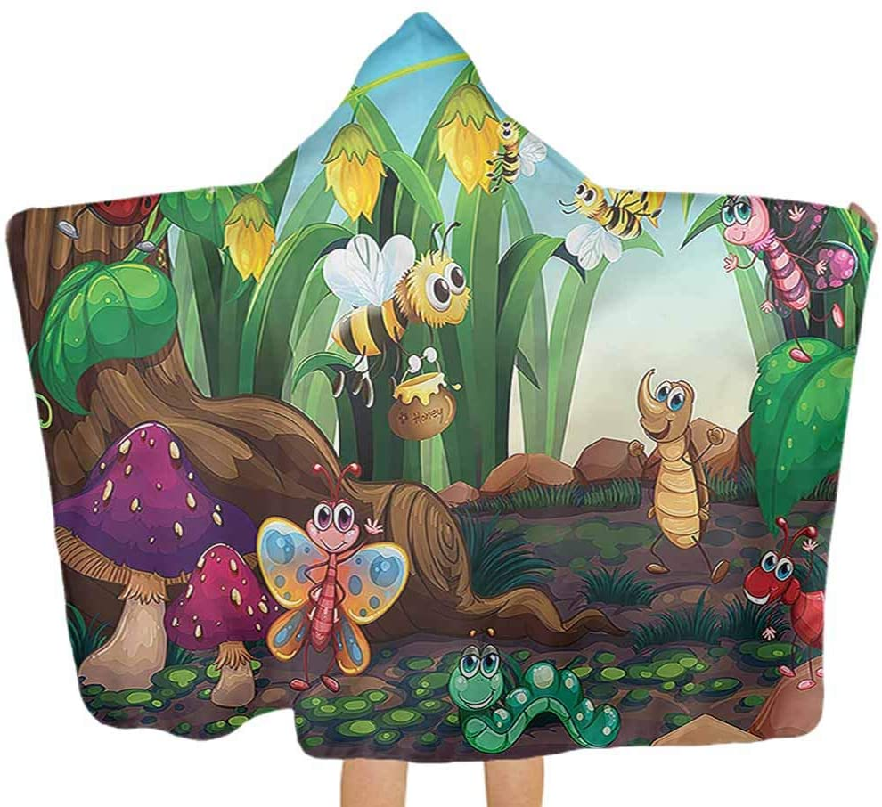 Carmaxs Animal Comfy Hooded Blanket Butterfly Bee in Exotic Keep Dry&Warm-Quality for Boy Girl 32 x 50 Inch for Kids