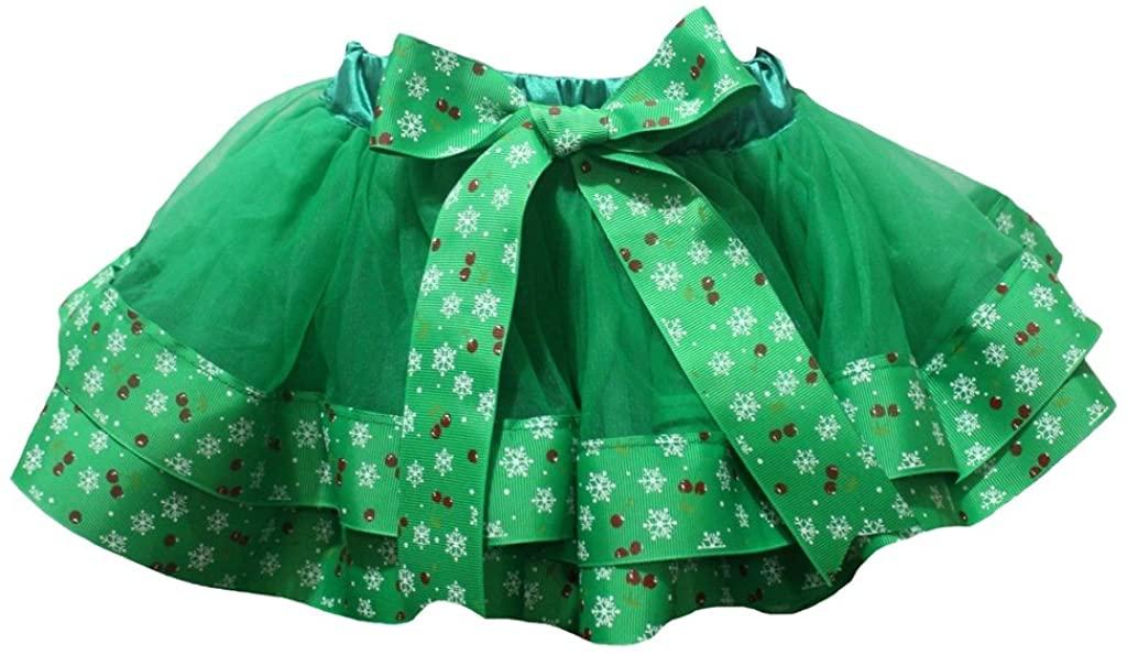 Petitebella Xmas Dress Green 4 Layer Snowflake Ribbon Girl Petal Skirt Nb-8y