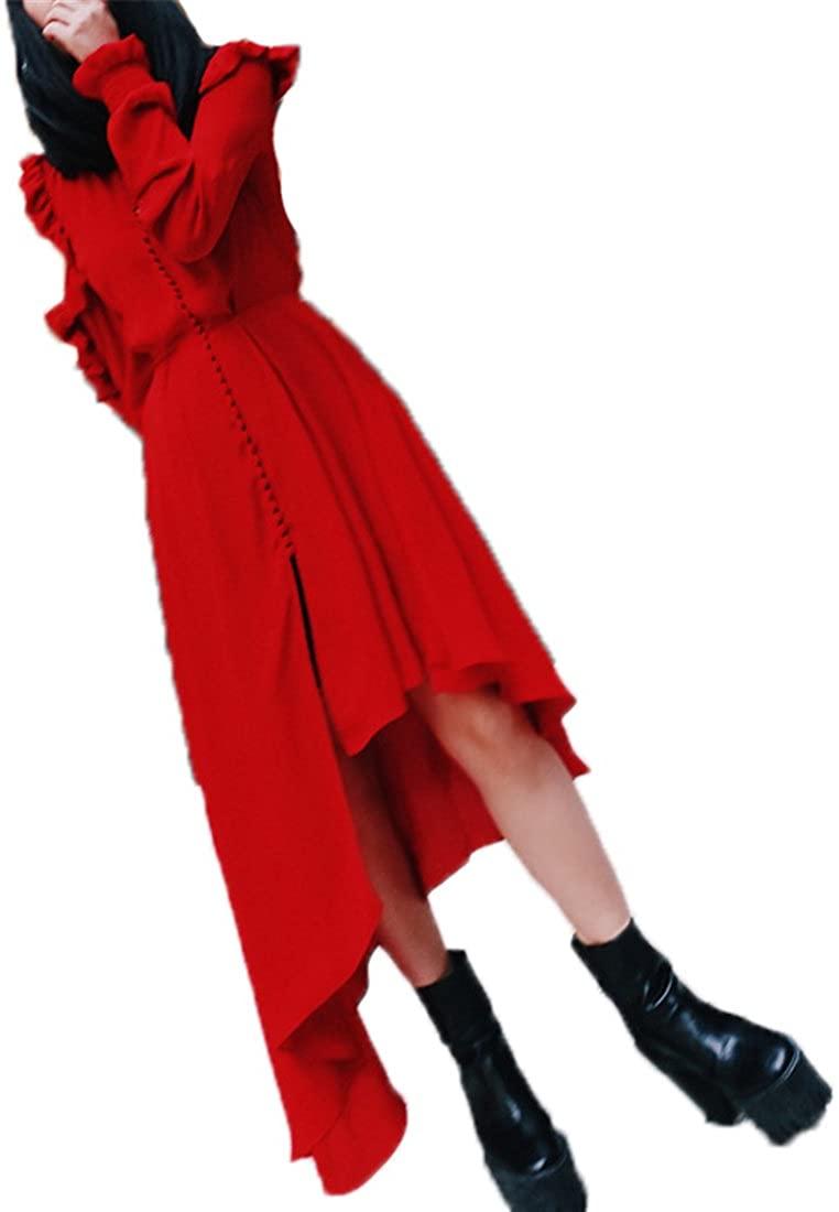 Yanick Mark Long Sleeve Ruffles Asymmetrical Summer Women Dress Female Tunic V neck Dresses Of The Big Size Vestidos Casual