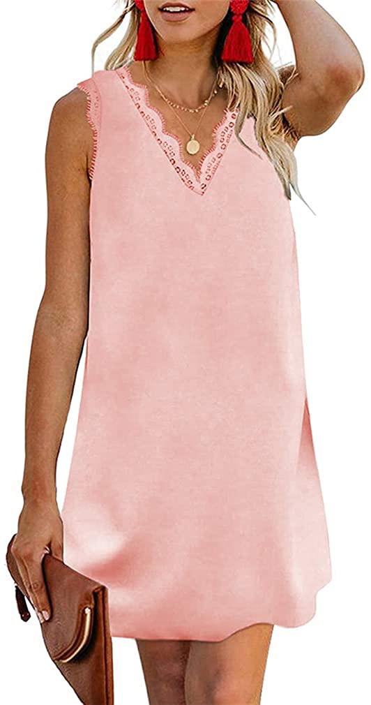 Paixpays Women Lace Trim V-Neck Sling Dress Straight Loose Short Skirt Mini Dress Pink 2XL