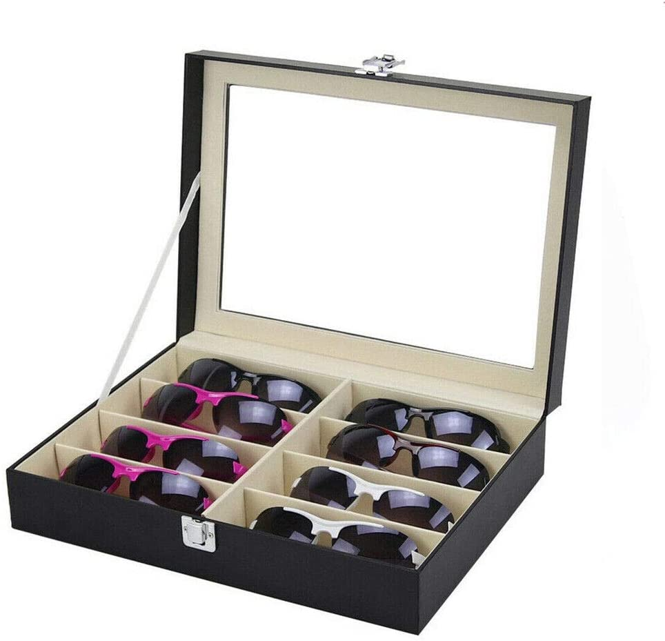 Alista 8 Grid Eye Glasses Case Eyewear Sunglasses Display Storage Box Holder Organizer