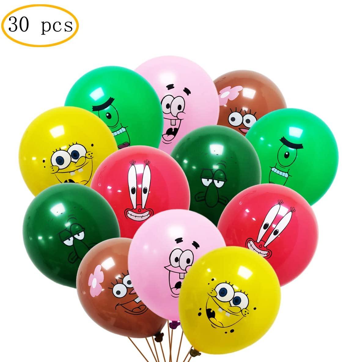 30 pcs Spongebob Balloons,Kids Baby Shower Birthday Party Supplies,Large 12