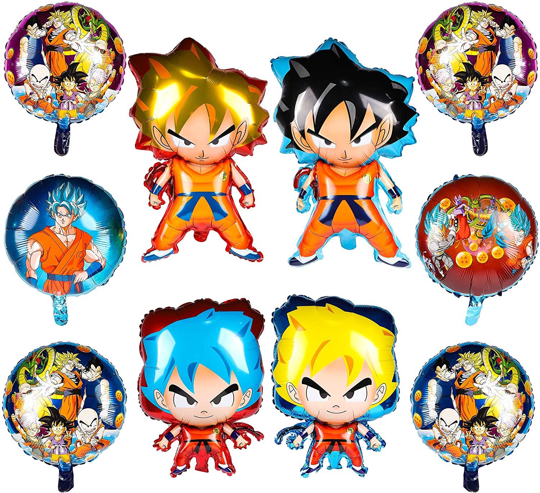 PANTIDE 10Pcs Dragon Ball Goku Balloons, Double Sided DBZ Super Saiyan Goku Gohan Character Party Decorations, Birthday Celebration Foil Balloon Set, Dragon Ball Birthday Party Supplies Party Favors