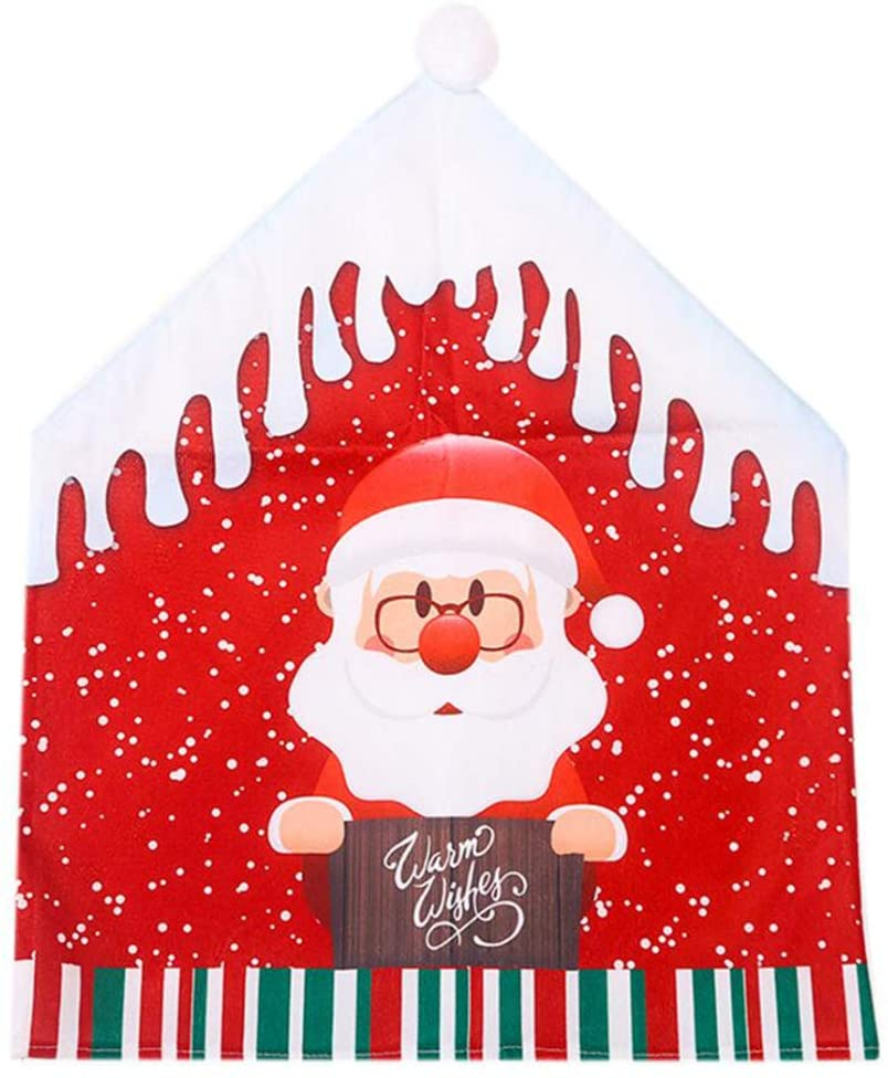 AKDSteel Christmas Chair Covers Cartoon Santa Claus Snowman Big Hat Chair Covers Home Party Creative Supplies Color Santa Claus Cartoon Chair Cover