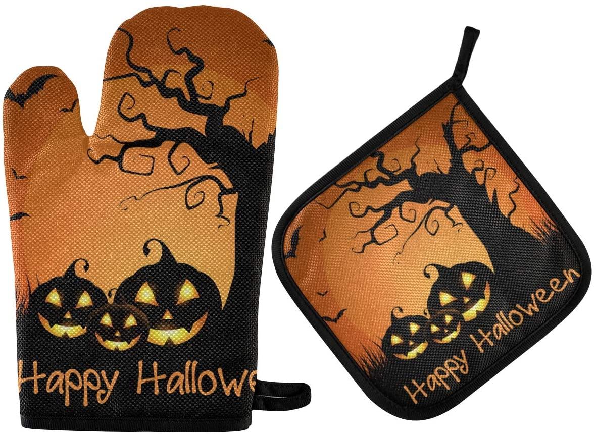 DOMIKING Halloween Oven Mitts Pot Holders Sets - Spooky Tree Jack Pumpkin Hot Gloves Heat Resistant Hot Pads Non-Slip Potholders for Kitchen Grilling Baking