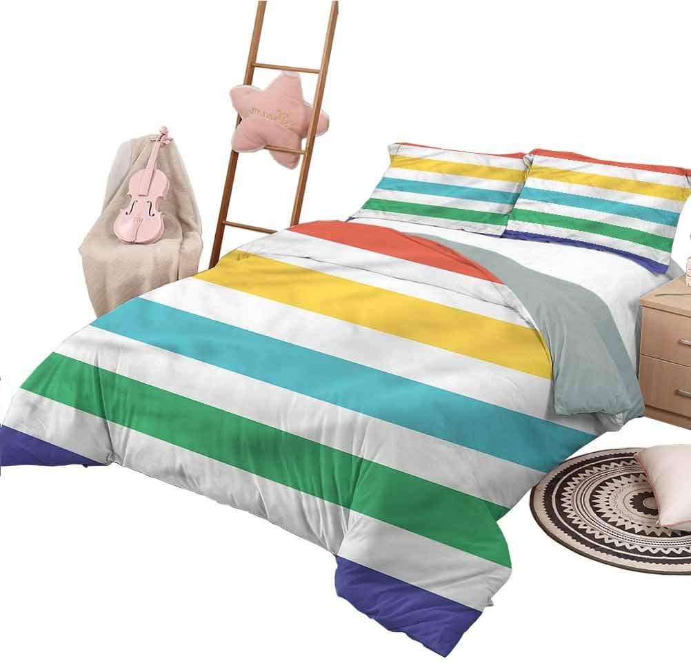 Nomorer Duvet Cover Twin Size Striped Lightweight All Season Bedspread Rainbow Kids Pattern