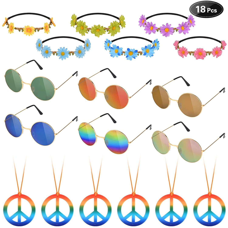 Hotusi 18Pcs Hippie Costume Accessory Set for 60s 70s Dressing Accessory Hippie Party Supplies(6pcs Peace Sign Necklaces Daisy + 6pcs Daisy Sunflower Headbands+6pcs Retro Round Sunglasses)