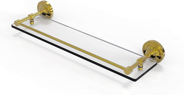 Allied Brass PRBP-1/22-GAL-PB Prestige Regal 22 Inch Tempered Gallery Rail Glass Shelf, Polished Brass