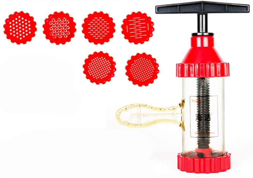 Small Multi-Function Pasta Machine Home Manual ABS Plastic Hand-cranked Red Color Noodle Machine (Color : Red, Size : 350ml)