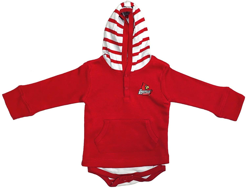 Louisville Cardinals Newborn Infant Striped Hooded Creeper Sweatshirt Jacket