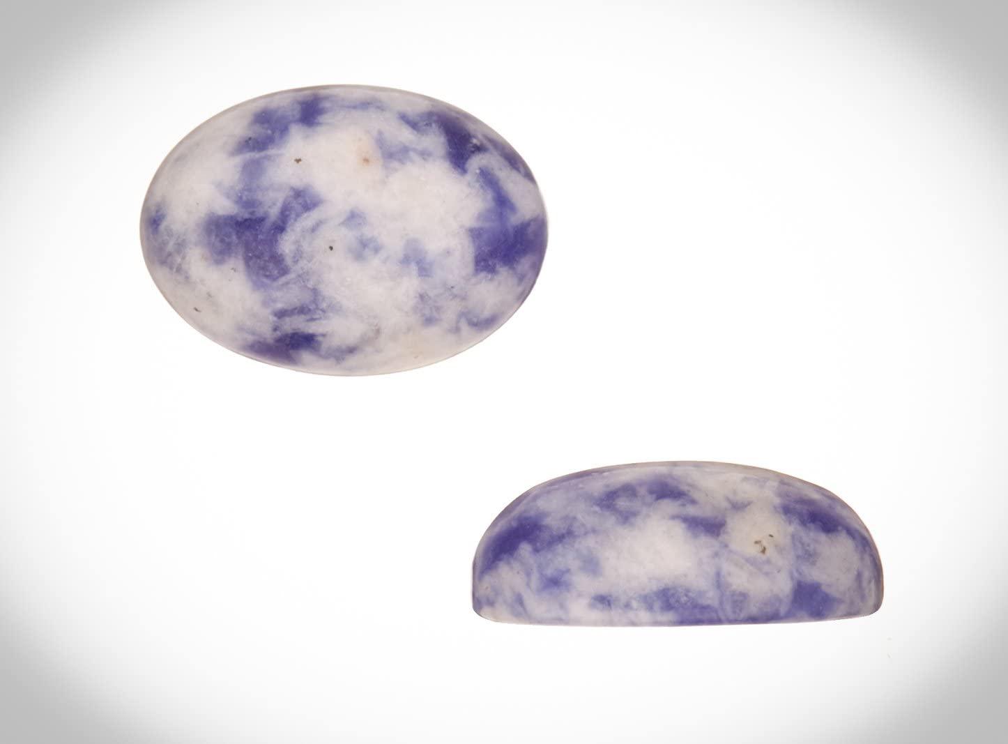 Oval Dome Semi-Precious Cabochon Stones Denim Lapis 10x14mm 4Pcs Pack