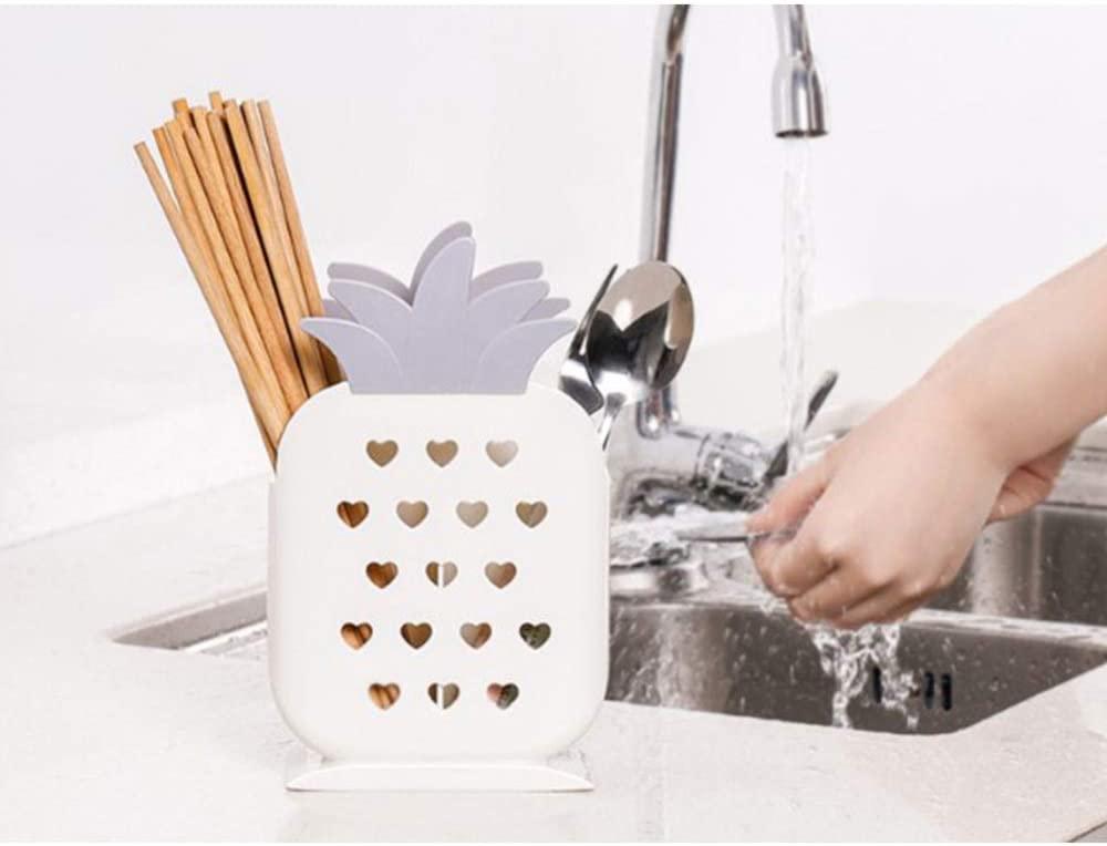 DSstyles Chopstick Spoon Storage Case,Plastic Chopstick Draining Rack Simple Design Pineapple Shaped Kitchen Supplies White