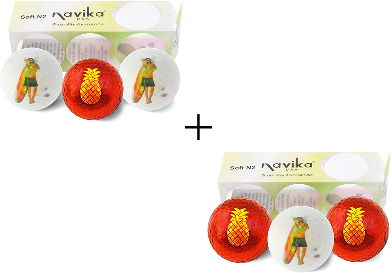 Navika Golf Balls- Hula Girl and Pineapple Imprint (2 Pack) Combo