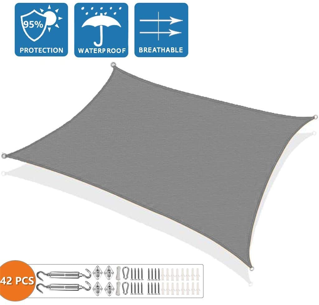 XXJF Shade Sail Canopy 95%uvBlockage,Water&airPermeable Sun Shade Sail DurableFabricClothPESPolyester forPatioGardenBackyardpergola (Color : Gray, Size : 5x6.5m)