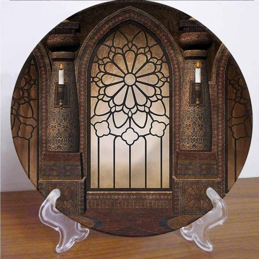 Channing Southey 6 Inch Gothic 3D Printed Decorative Plate Antique Gate Oriental Tableware Plate Decor Accessory for Pasta, Salad,Party Kitchen Home Decor