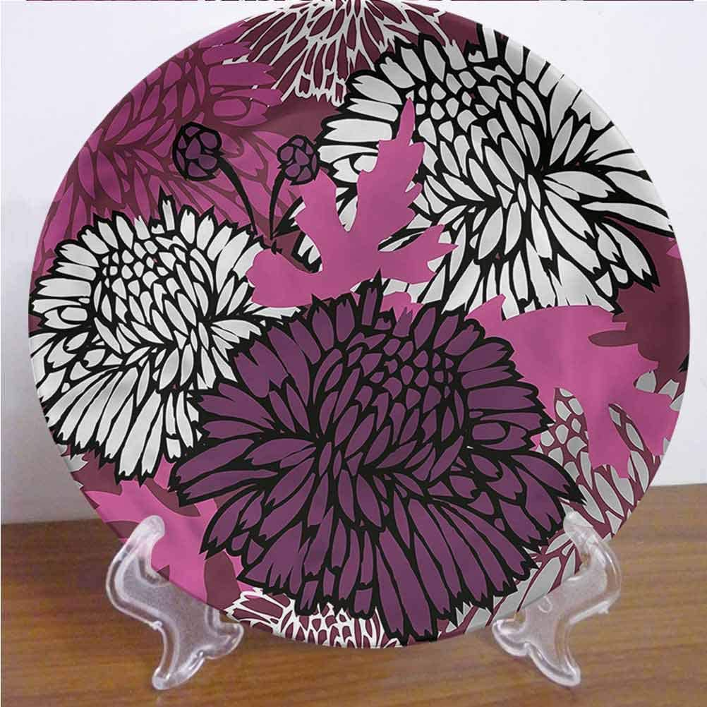 Channing Southey 8 Inch Dahlia 3D Printed Decorative Plate,Large Floral Petals Bud Tableware Plate Decor Accessory for Pasta, Salad,Party Kitchen Home Decor
