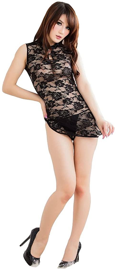 DXS Women's Sexy Lingerie Sheer Chinese-Style Rose Pattern Cheongsam Dress+t-Back