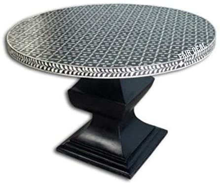 Bone Inlay Motif Pattern Handmade Round Black Pedestal Dining Table for Home Decor Purpose