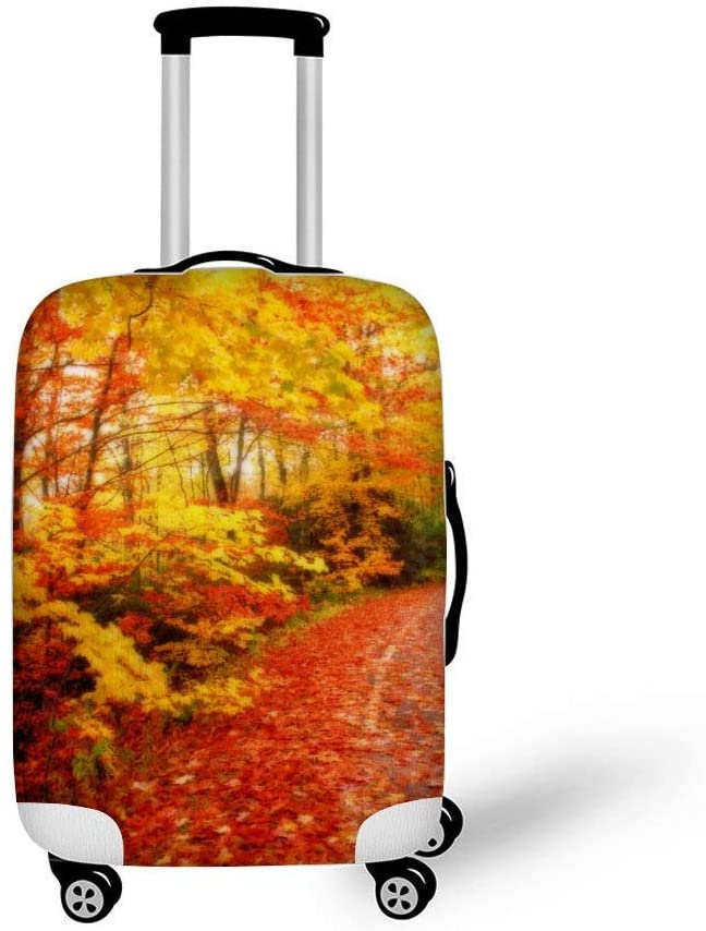 Fall Maple Leaf Fashionable Baggage Suitcase Protector Travel Luggage Cover Anti-Scratch