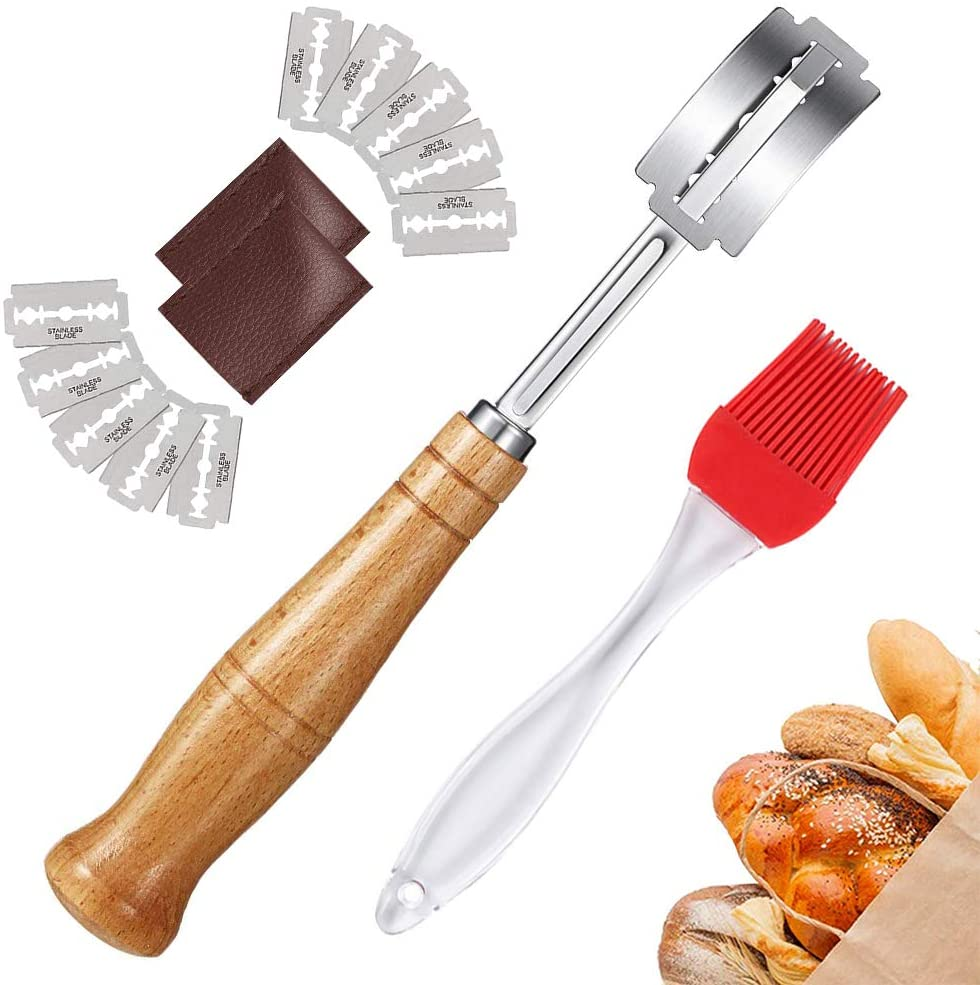 Hand Crafted Bread Lame Slashing Tool with 10 Sharp Blades for Scoring Sourdough Bread Easily - Dough Scoring Tool for Bread Baker - Extra Free A Silicone Brush & Leather Protective Cover