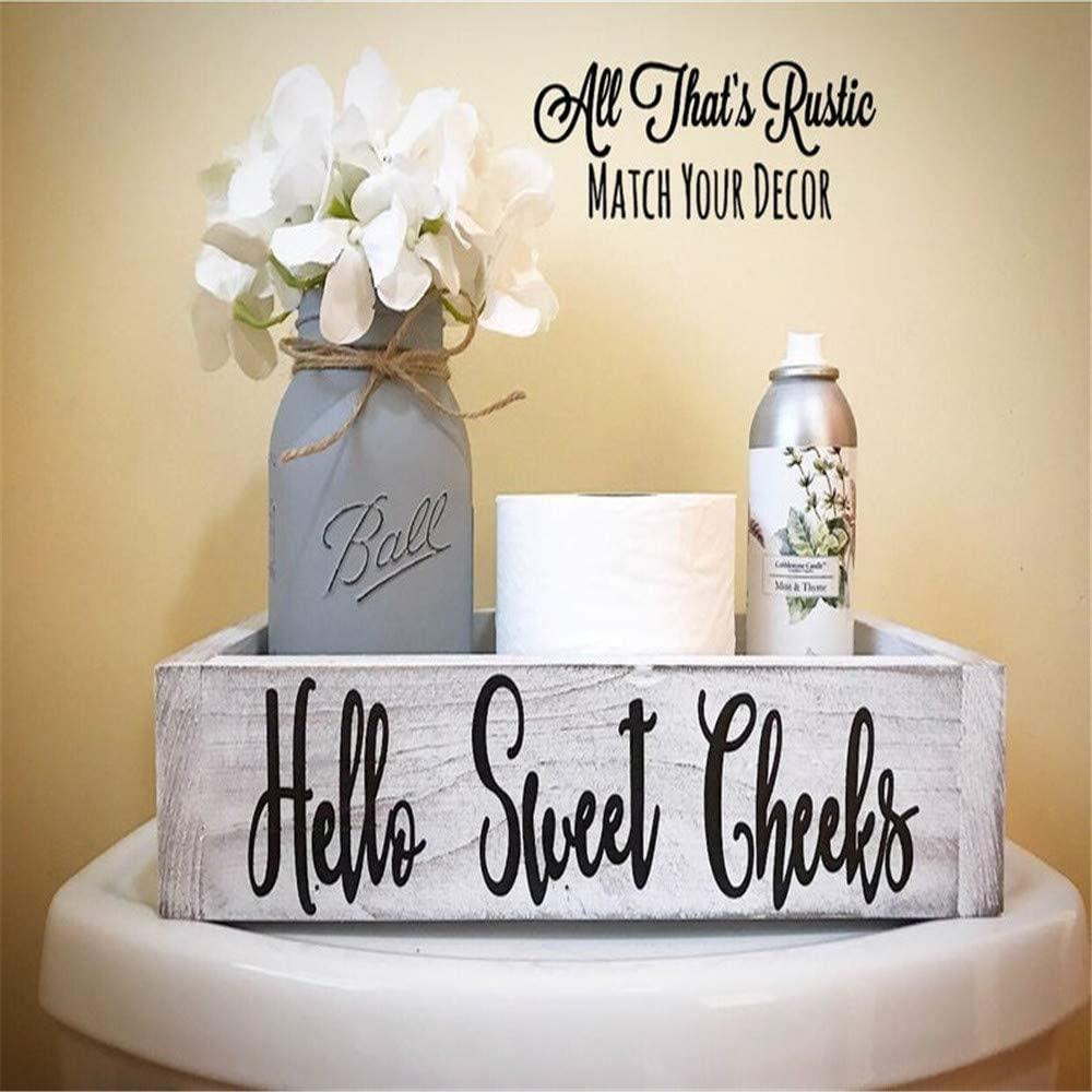Nadieou Hello Sweet Cheeks Bathroom Decor Box - Toilet Paper Holder-Bathroom Signs-Funny Farmhouse Rustic