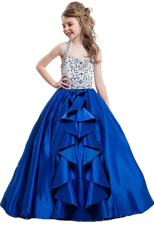 WZY Girls Halter Rhinestones Ruffled Backless Chiffon A-line Princess Pageant Dress