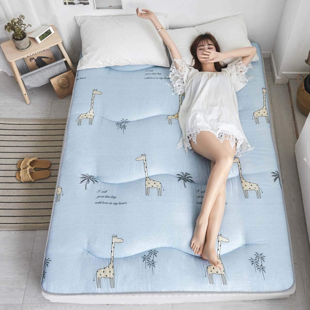 ZXYY Japanese Triangular Floor Mattress, Tatami Floor Mattress Portable Camping Mattress for Children Folding Sleeping Pillow Roll Up Pillow Bed, H, 150 200cm