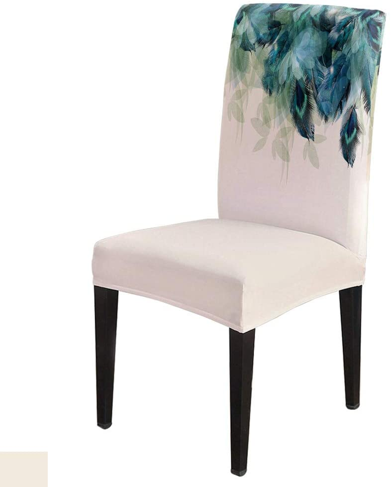 Beautiful Peacock Feather -Removable Chair Covers Set Dark Blue Spandex Dining Chair Protector Slipcovers for Ceremony, Party, Restaurant, Hotel- 6 Pack