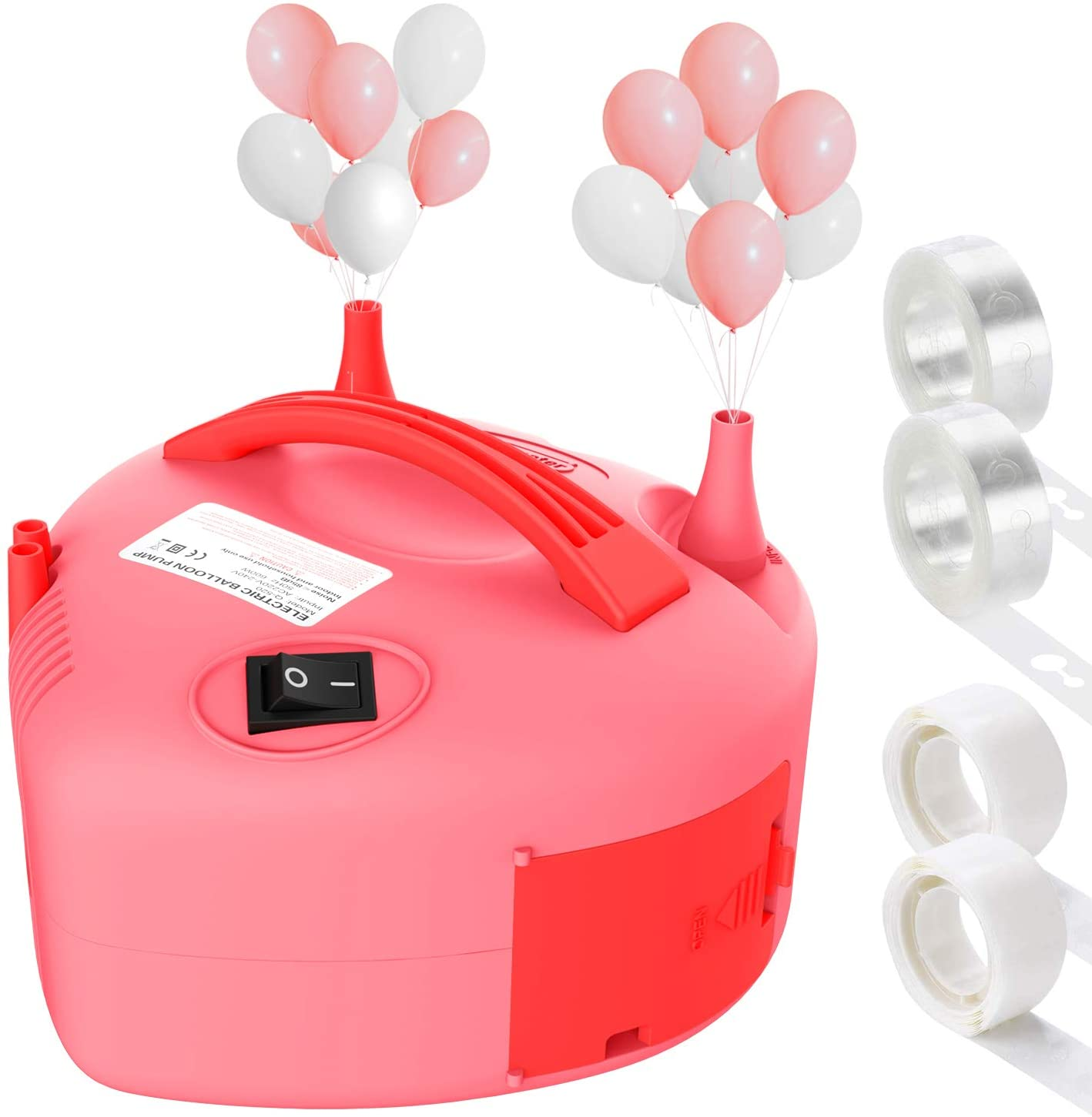 Dr.meter Electric Balloon Pump, 110V 600W Auto/Semi-auto Portable Balloon Inflator Pump with Dual Nozzles Blower for Party/Wedding/Christmas/Birthday/Ceremony Decoration