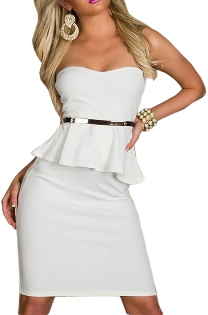 JJ-GOGO Fashion Office Lady Strapless Peplum Party Dress