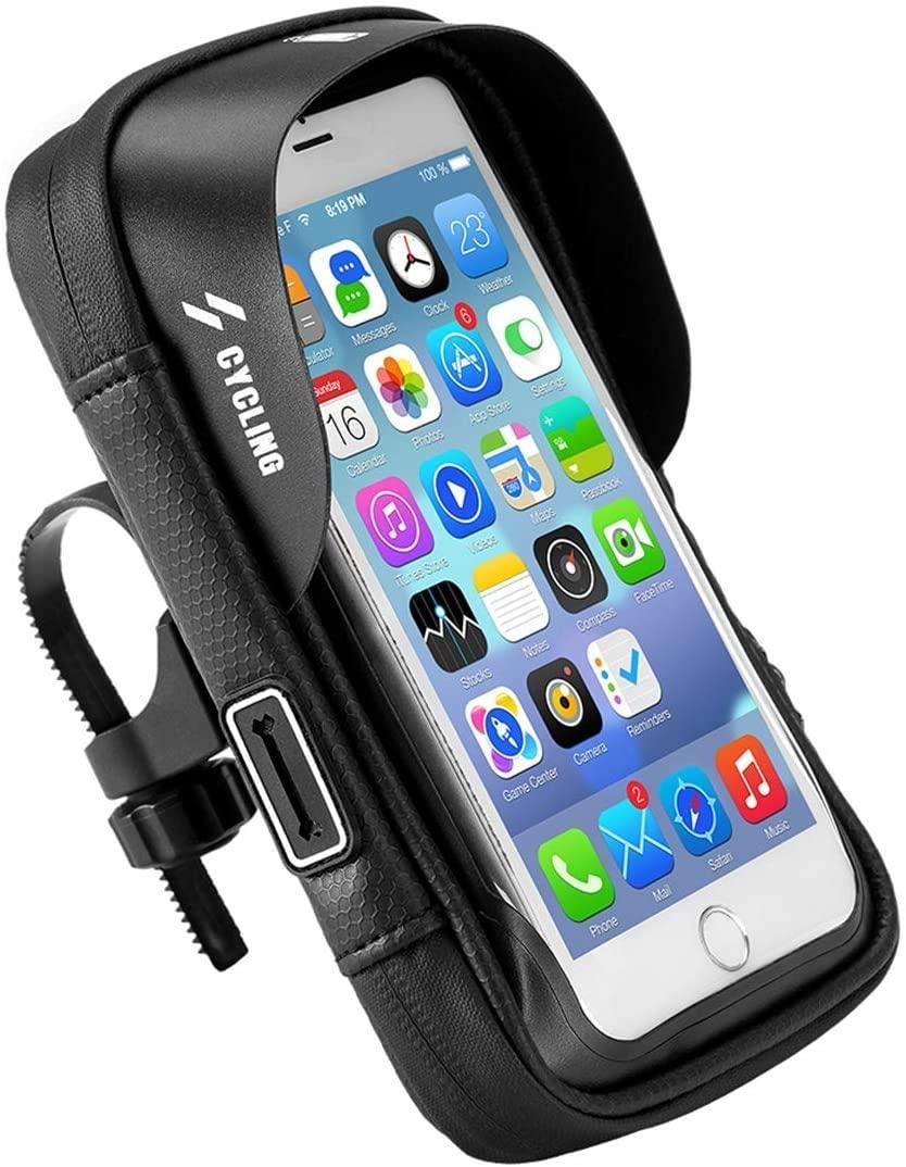 Bike Handlebar Bag, Universal Waterproof Bicycle Front Frame Phone Mount Bag, 360 Degree Rotation Cycling Handlebar Phone Holder for 6.0 Inch Phones
