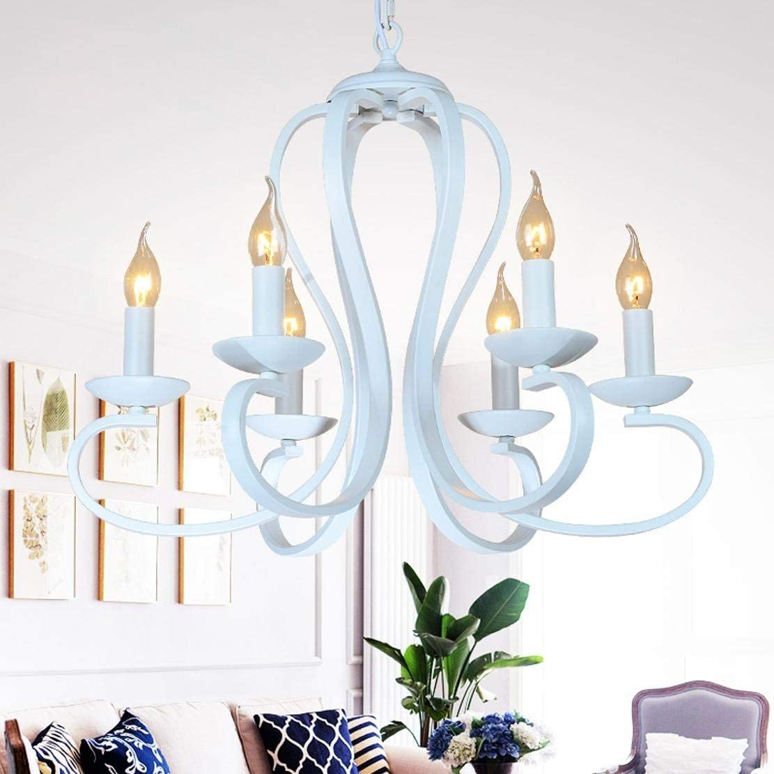 BOSSLV Design Fashion Chandelier 6X E14 Iron Elbow Candle Hanging Light Creative Personality Pendent Lamp Led Decorative Pendant Lamp for Dining Table Bed Room Dining Hall Bar 61 cm