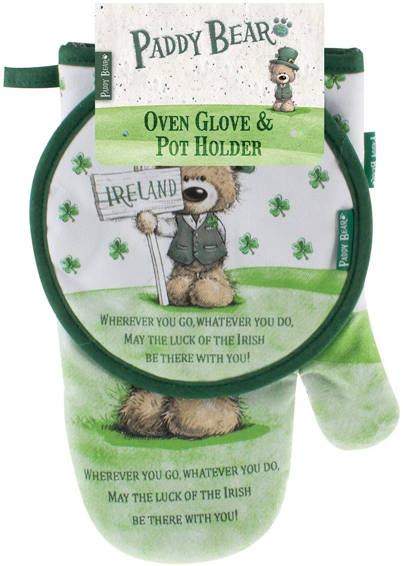 Paddy Bear Irish Designed Oven Glove & Pot Holder 'Wherever You go, Whatever You do' Text