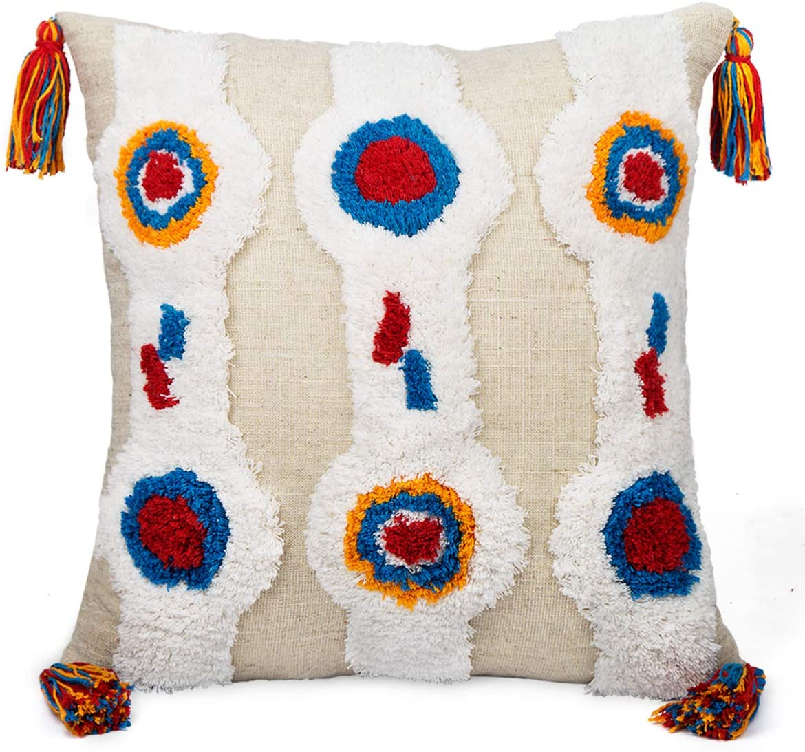 Leisury Boho Tufted Throw Pillow Cover, 18x18 Inches Handwoven Stripes Linen Cotton Tassels Cushion Case for Couch Sofa Bedroom Living Room Nursery Décor