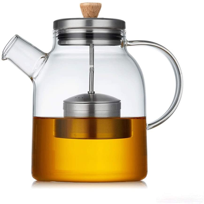 KFDQ Household Glass Kettle,Teapot Kettle Glass Tea Set Elegant Cup Thick Teapot Heat-Resistant Household Teapot Office Tea Ceremony Cup with Filter Tea Cup with Tea Tray,a