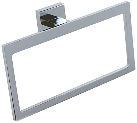 Gedy A070-13 Elba Modern Rectangular and Cromall Towel Ring, Chromed Brass