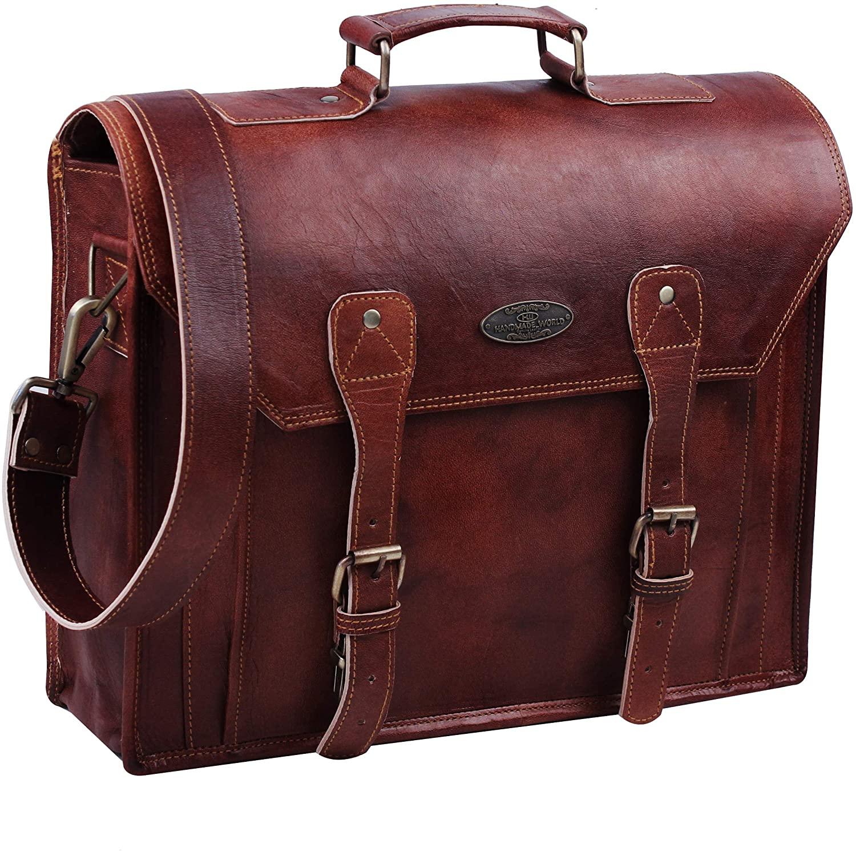 15 Inch Vintage Handmade Leather Messenger Bag Laptop Briefcase Computer Satchel Bag For Men Women By Handmade World