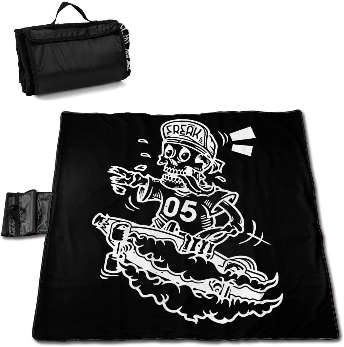 Htw Skater Death Street Skate Skull Portable Printed Picnic Blanket Waterproof 59x57(in)