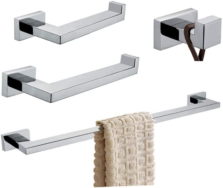 BigBig Home Bath Hardware Bathroom Accesssories Sets 4pcs SUS 304 Stainless Steel Toilet Paper Holder Towel Ring Robe Hook Towel Bar Square Style Wall Mounted Polished Chrome Finish