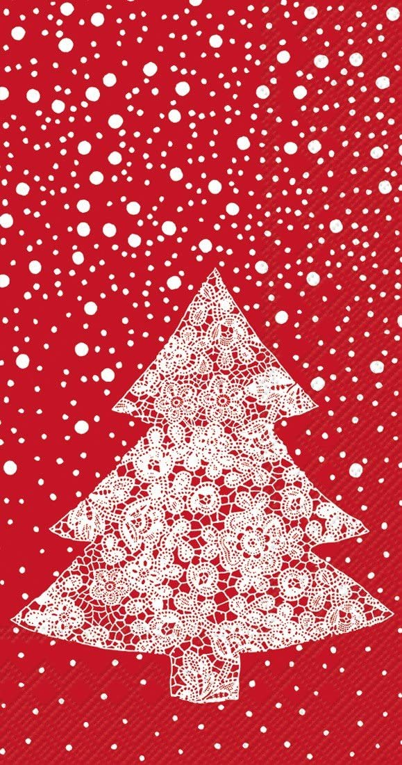 Ideal Home Range 16-Count Christmas Lace Paper Guest Towel Napkins, Red