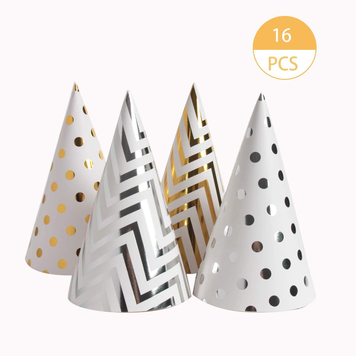 SBYURE 16 Pieces Happy Birthday Party Hats for Children and Adults, Fun Birthday Jamboree Party Hats,Gold, Silver, Medium