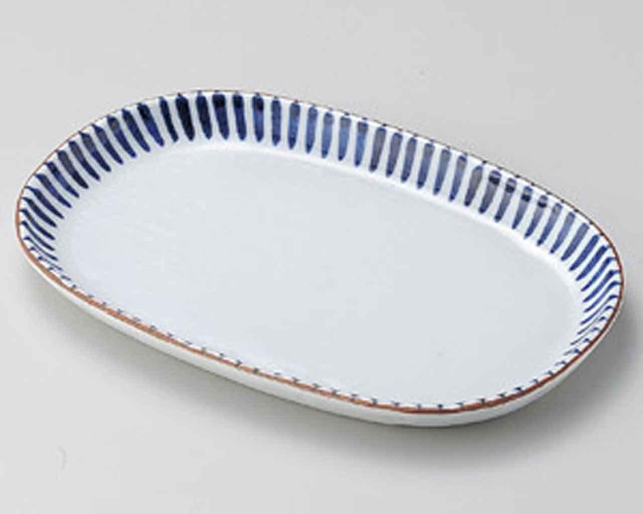Blue Tokusa 10.6inch Medium Plate White porcelain Made in Japan