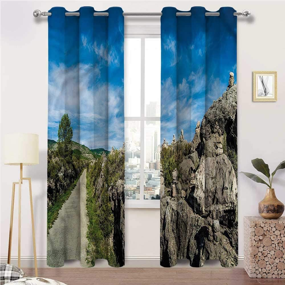 Outdoor Curtains for Patio Waterproof, Landscape Indoor/Outdoor UV Protectant Grommet Drapes, Mountain with Rocks Sun Set of 2 Panels, 108 Width x 108 Length