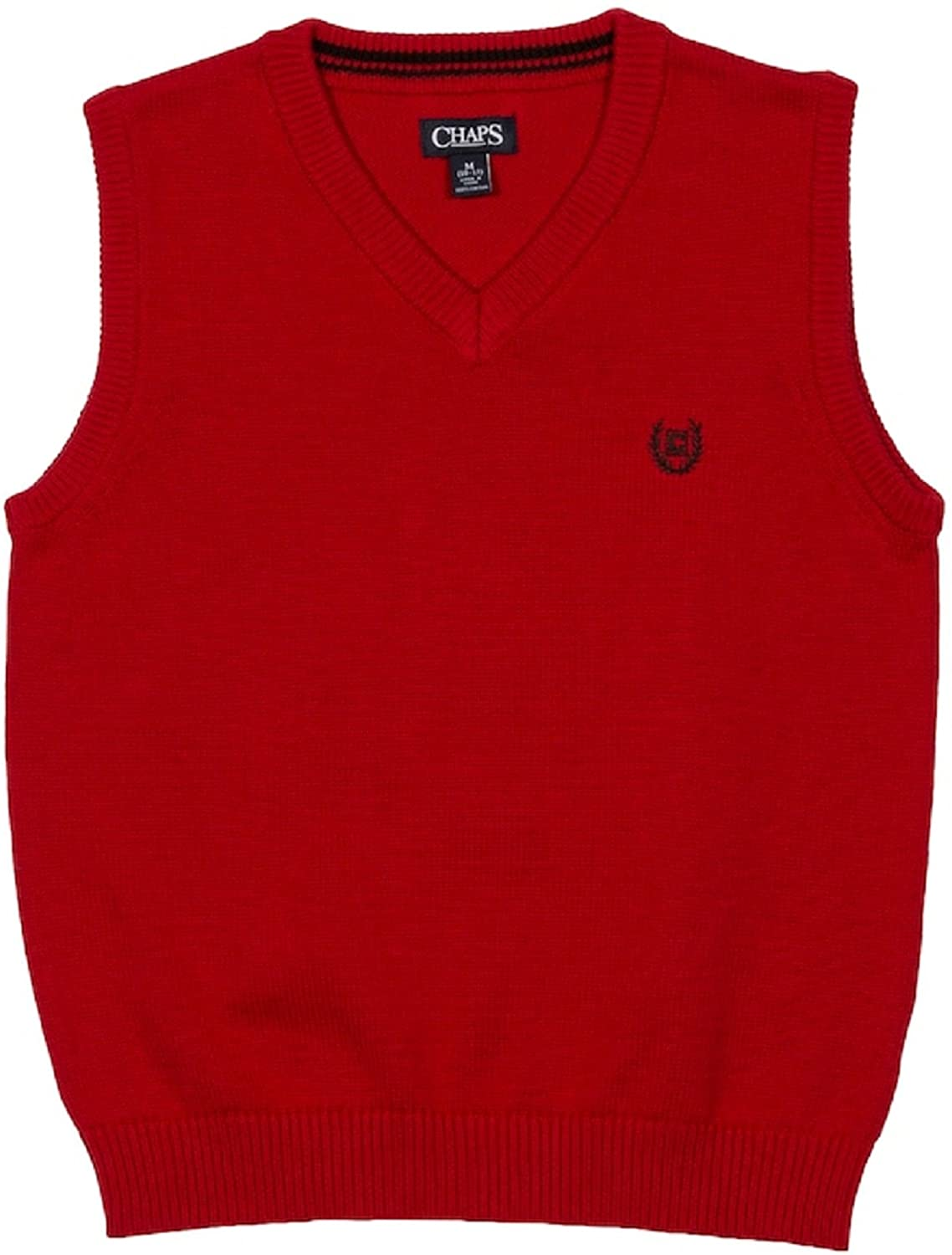 Chaps Solid Sweater Vest (14-16) (Red)