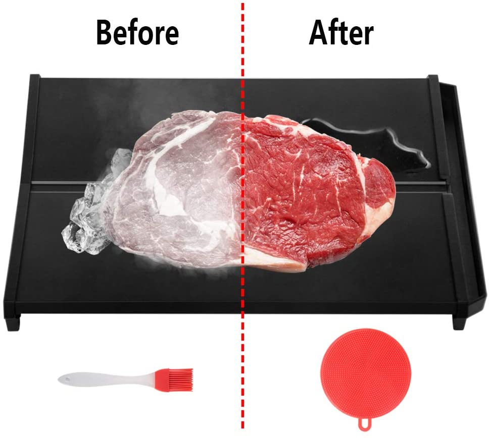 Kyrieval Defrosting Tray Natural Thawing Meat Fast Thawing Plates with Drip Groove for Frozen Food No Electricity Size 12.5×8.5