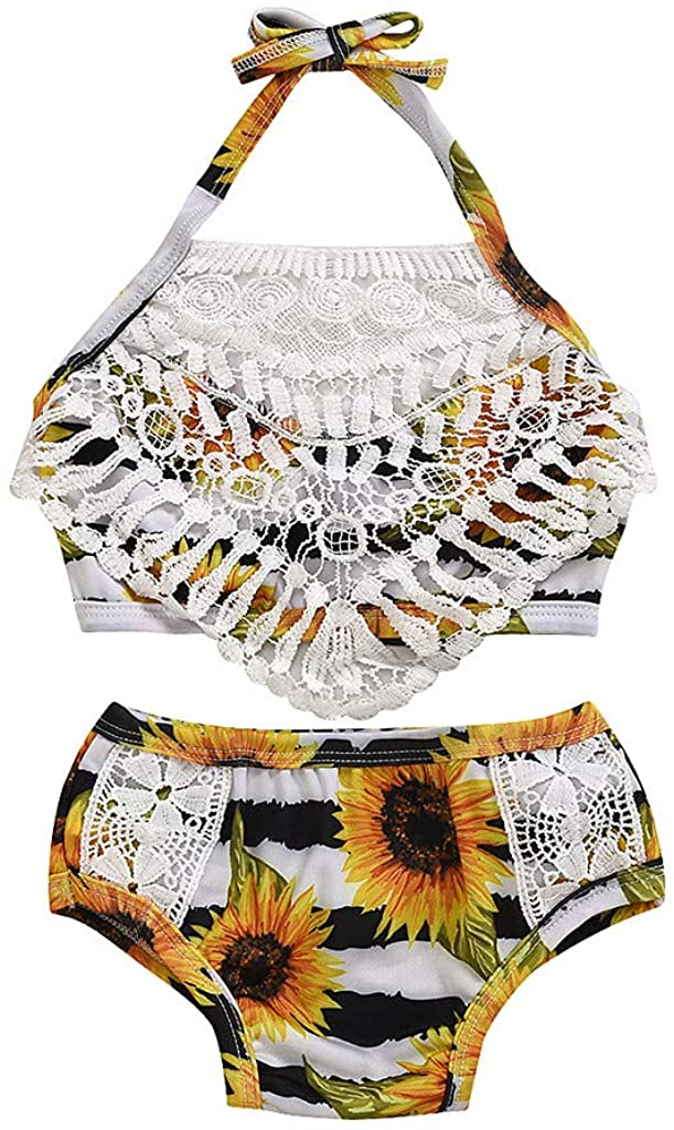 Heberry 1-5 Years Toddler Girls Floral Tassel Tops+Sunflower Swimsuit Bikini Shorts Outfits Set