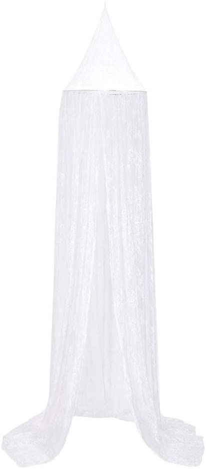 Maserfaliw Mosquito Net, 270cm Kids Children Bedroom Bed Curtain Pointed Canopy Hung Mosquito Net Decor, Home Life, Hot Trend, Infant and Child Necessities. White