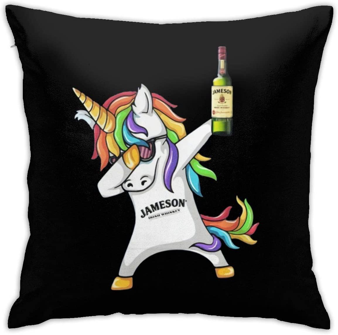 Winodfrw Unicorn Dabbing Jameson Irish Whiskey Pillowcase Throw Pillow Covers 18 X 18 Inch/45 X 45 cm Double-Sided Printing